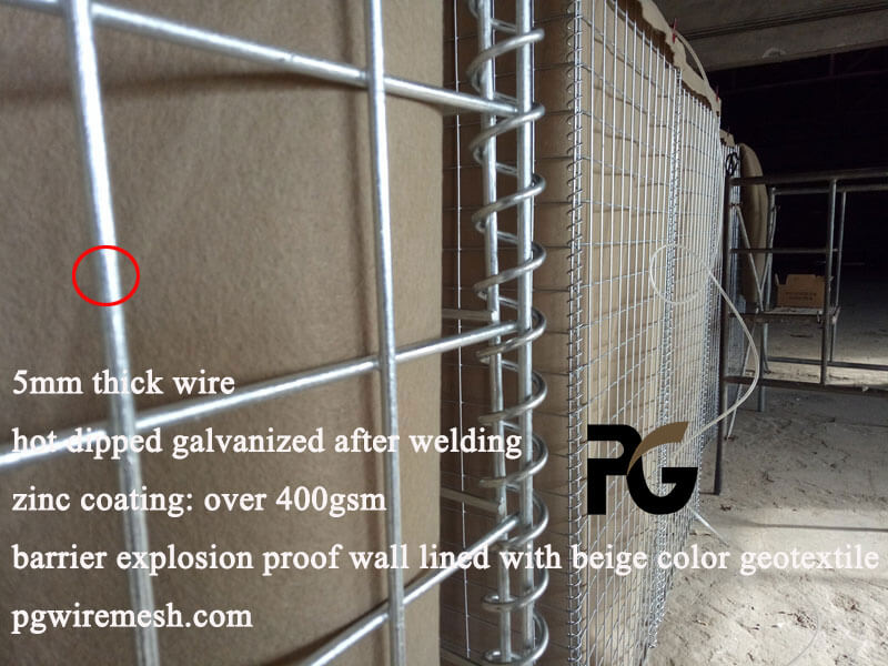 2m height×1m width×1m length hot dipped galvanized barrier explosion proof wall China factory